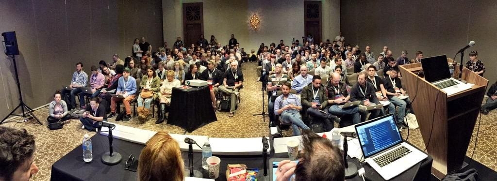 The audience listen to panellists at the SXSW Mobile UX Revolution session.