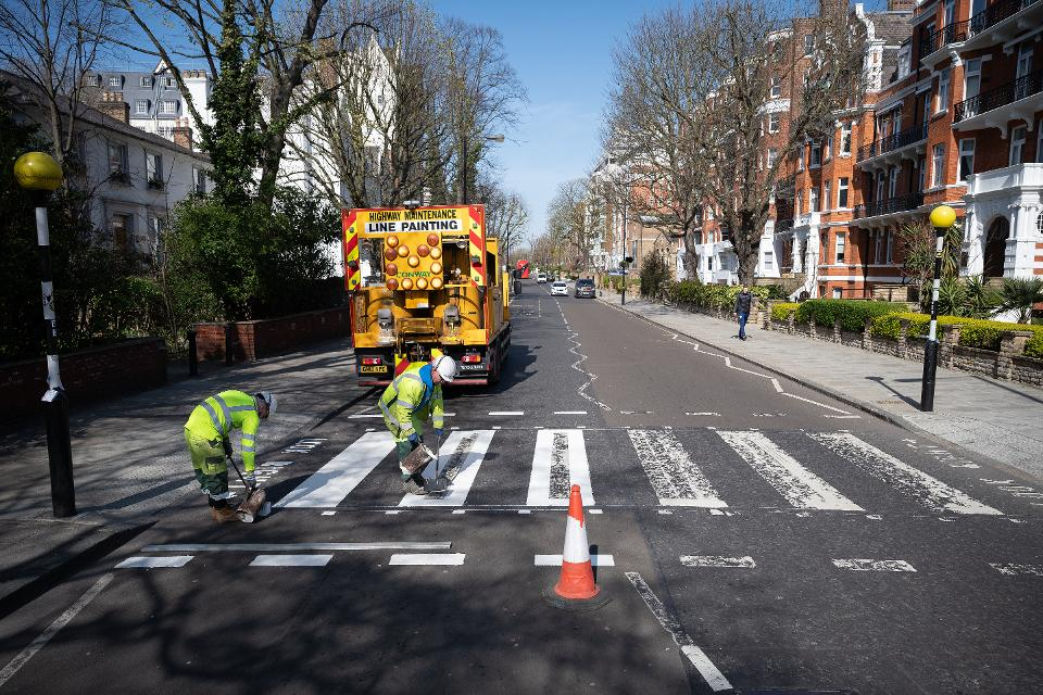 World Famous Abbey Road Crossing Is Repainted During The London Lockdown