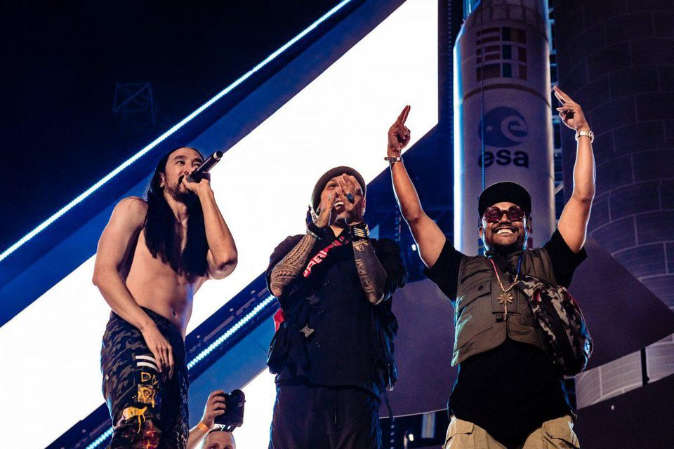 Steve Aoki and The Black Eyed Peas at WORLD CLUB DOME Space Edition launch event